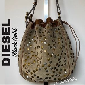 DIESEL $1,100 Studded Buffalo Leather Bucket Purse